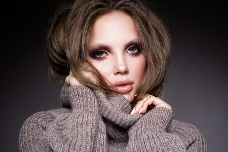 Smoky Eyes Make up. Glamour Lady Portrait.