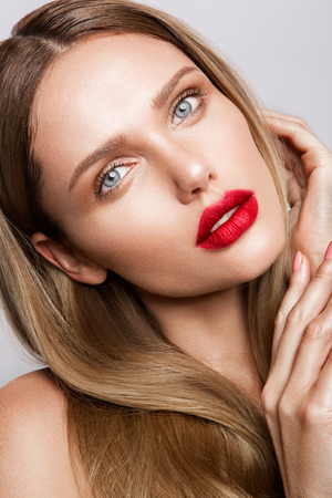 elegance fashion girls look sensuality young: Beautiful young model with red lips