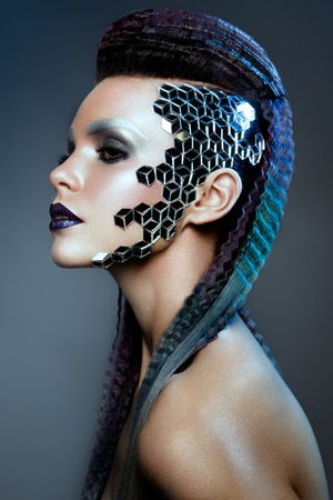 Shot of a futuristic young woman. Stock Photo