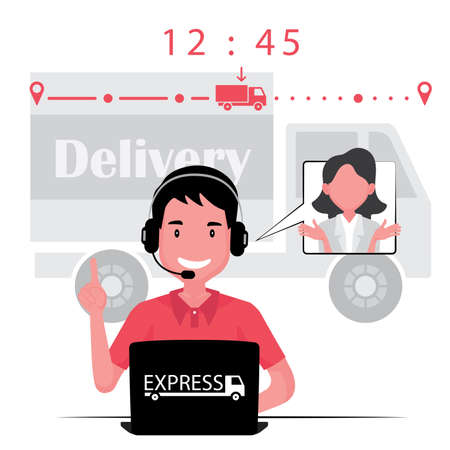 Delivery business feature a customer service agent speak with client about the timeline 일러스트