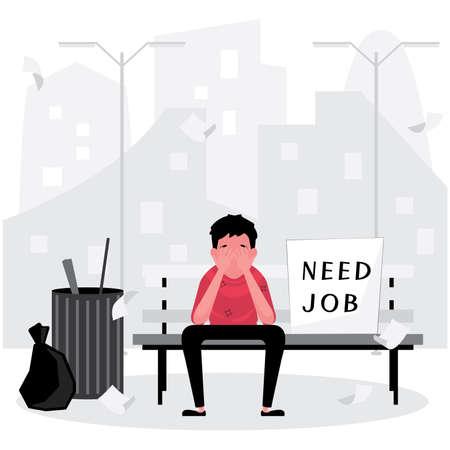 A sad man is unemployed and need a job sitting on the bench, homeless Illusztráció