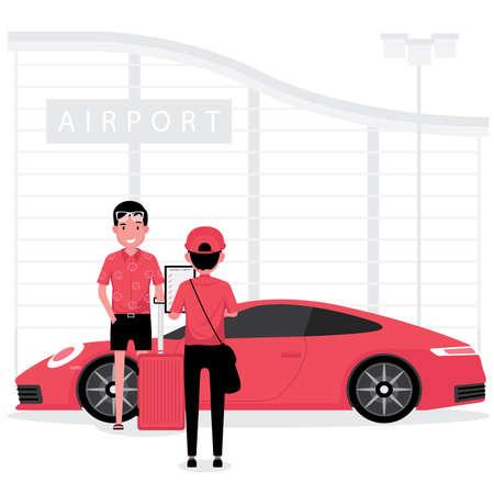 A man have a car check at the garage