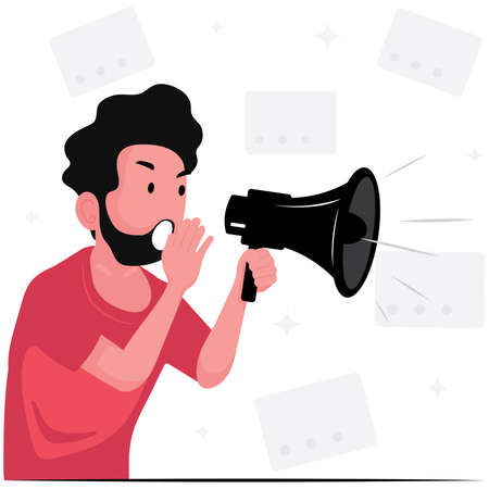 A man announce the news with megaphone