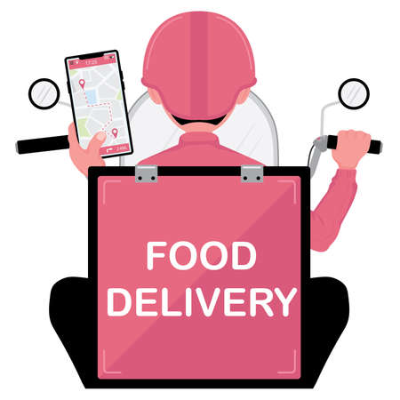 food delivery picture showing a man with scooter holding a phone while riding for food delivery