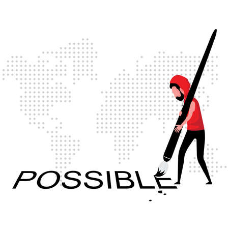 a vision of everything is possible feature a man in red holding brush drawing possible word  イラスト・ベクター素材