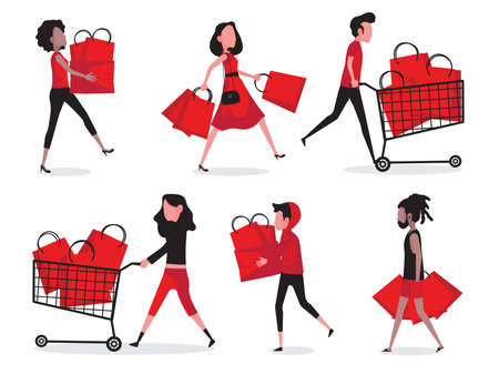 Shopping action picture feature lady in red walking, holding shopping bag and walking with shopping cart Vektorové ilustrace