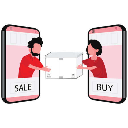 sale and buy things online feature a man and woman stand out from phone handing a box to each other Stock Illustratie
