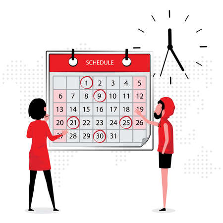 time management picture feature and and woman discussing about work while looking at the calendar and wall clock