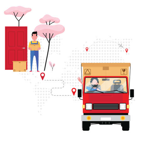A logistic company deliver a parcel or a box to customer by red scooter truck following an order lists from company