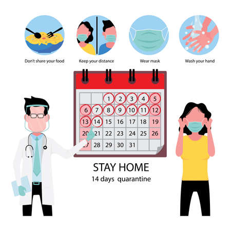 A doctor with face shield acknowledge the girl in yellow shirt to wear mask at all time and advise to be under 14 days quarantine by showing her a calendar 向量圖像