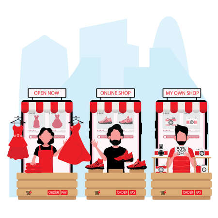 people is selling red dress, shoes and watch online and their products shown on mobile screen