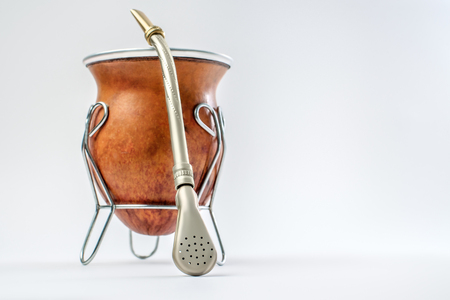 Calabash for herbal tea mate on white background Stock Photo