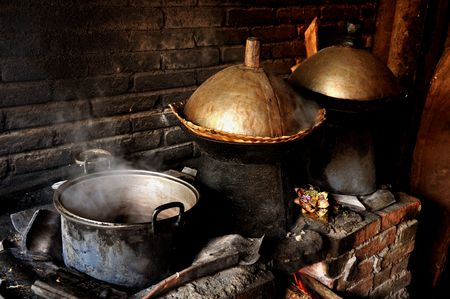 stove: Traditional kitchen in Bali Stock Photo