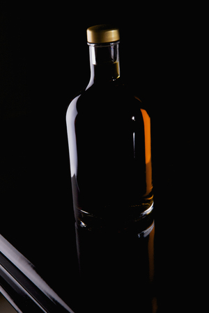 no name: No name bottle with alcohol