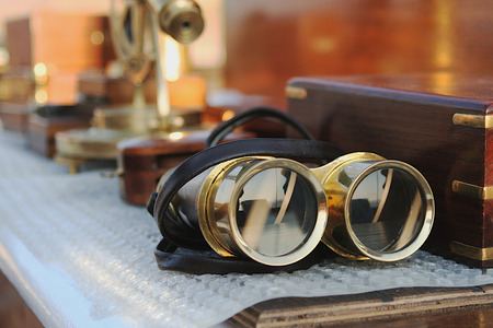 observations: Vintage binoculars Stock Photo