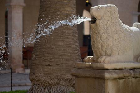 lion figurines: Fountain on the street of Malta