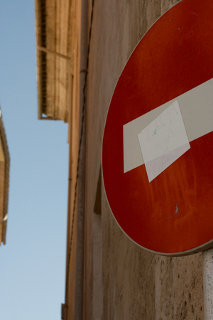 no entry: Sign No entry on the street of Malta Stock Photo