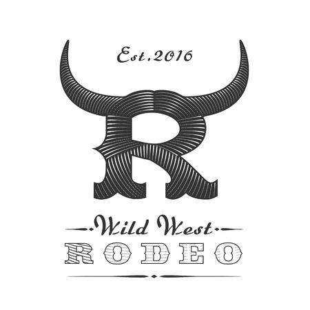 american rodeo: plantilla americana logotipo del rodeo del vector para el evento, empresa, producto, bar, etc. cuernos de toro. signo lejano oeste Vectores