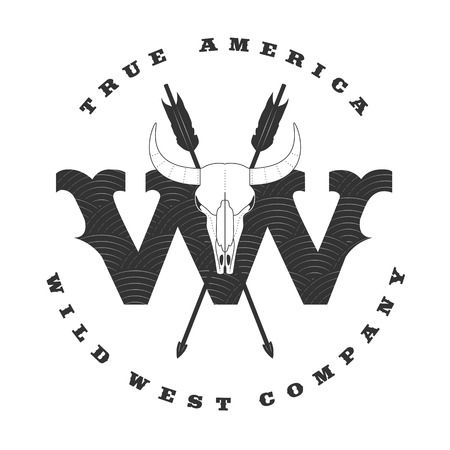 tagline: Wild West vector concept template logo for a company, product, event. Cowboy label, rodeo illustration