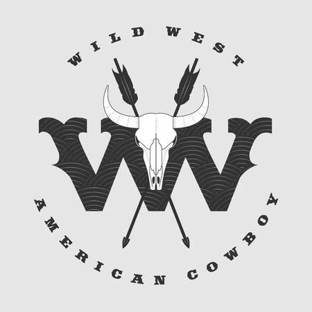 bucking bull: Vector concept logo Wild West for company, product, event. Bull horns and skull eye catching sign Illustration