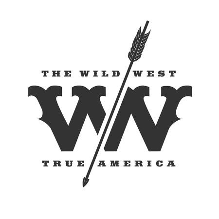 El modelo de la insignia del vector del concepto del oeste salvaje. Símbolo, etiqueta, placa, elemento de diseño