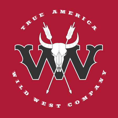 bucking bull: Vector concept logo Wild West for company, product, event. Perfect as sign, design element, logo template, badge, banner Illustration