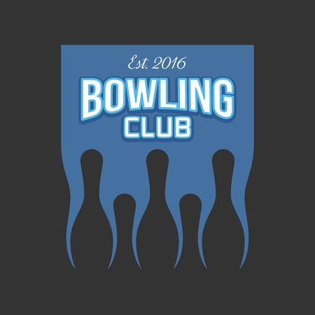 strike: Vector bowling logo. Pins icon. Template logo for club, competition, tournament