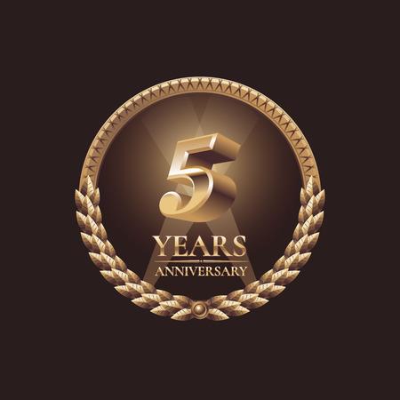 celebration: Five years anniversary celebration design. Golden seal vector illustration Illustration
