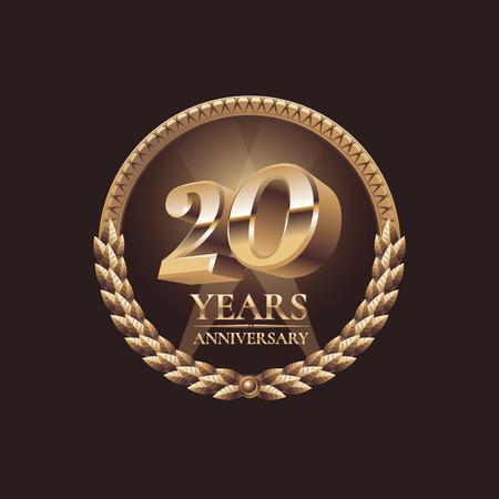Twenty years anniversary celebration design. Golden seal vector illustration Ilustração Vetorial