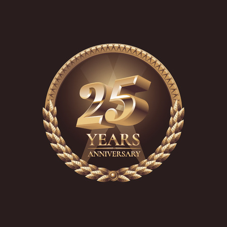 the twenty fifth: Twenty five years anniversary celebration design. Golden  vector illustration Illustration