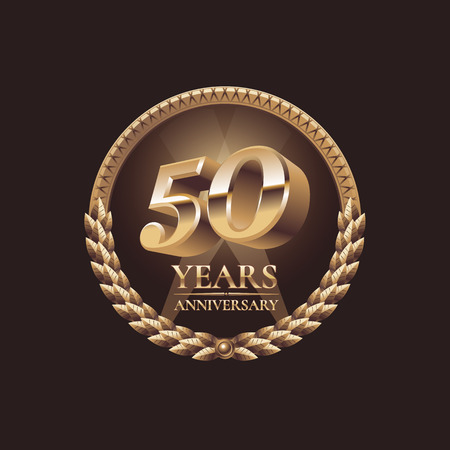 the fiftieth: Fifty years anniversary celebration design. Golden seal  vector illustration