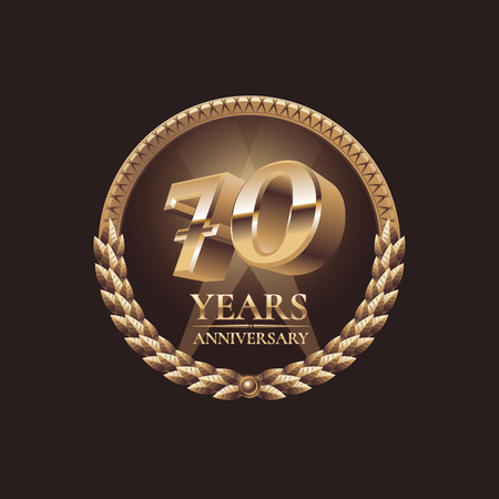 70 years: 70 years anniversary vector icon. 70th celebration design. Golden jubilee symbol