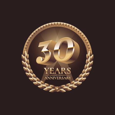 30 years anniversary vector icon. 30th celebration design. Golden jubilee symbol Vectores