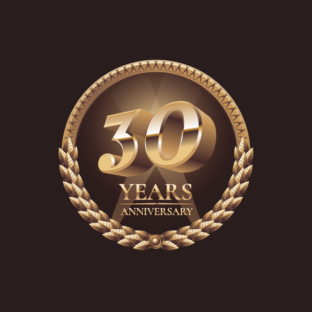 30 years anniversary vector icon. 30th celebration design. Golden jubilee symbol Vettoriali