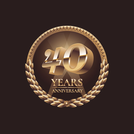 40 years anniversary vector icon. 30th celebration design. Golden jubilee symbol Çizim