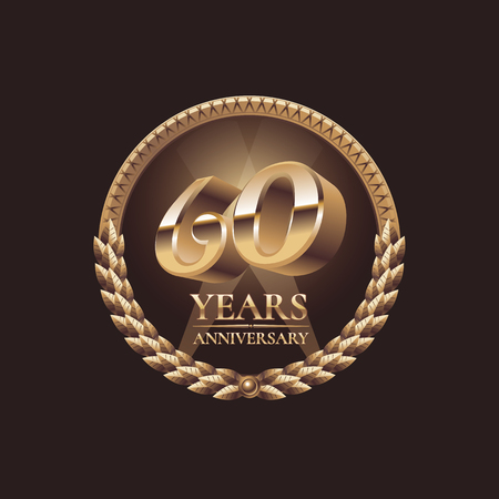sixtieth: 60 years anniversary vector icon. 60th celebration design. Golden jubilee symbol