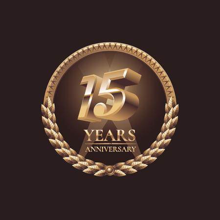 15 ans vecteur d'anniversaire icône. 15ème conception de fête. Or le symbole du jubilé Banque d'images - 54530269