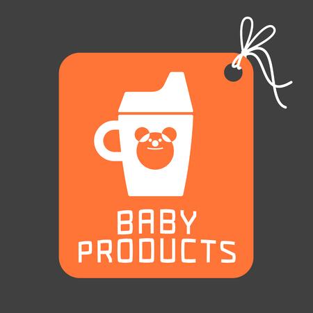 teteros: productos para bebés logo vector. Emblema con la taza de entrenamiento linda para una tienda, empresa o producto. Elemento de diseño para folletos, carteles, web Vectores