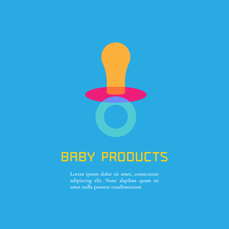 babys dummies: Illustration of soother made in cute bright  style vector. Baby products concept. Design element, logo or clipart for a shop, product or company Illustration