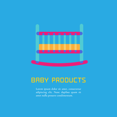 bedstead: Illustration of cot made in cute bright  style vector. Baby products concept. Design element, logotype for a shop, product or company