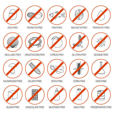 allergens: Vector set of warning labels for food allergens, gluten, lactose, etc. and GMO