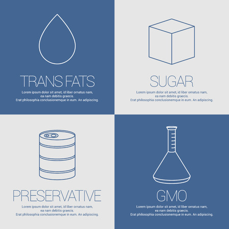 lactose intolerant: Vector icons, symbols of not healthy ingredients and additives