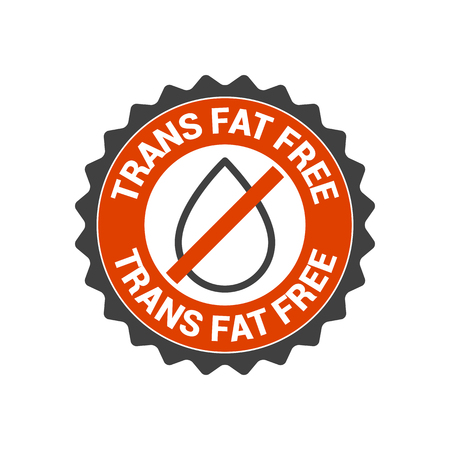 oily: No transfat, trans fat vector seal, label