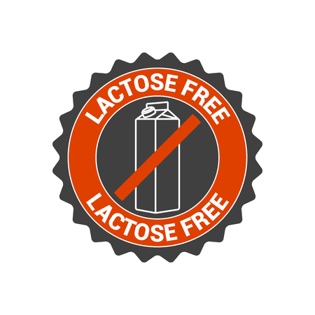 healthier: Lactose free vector food label, seal, icon, logo. Healthier eating symbol
