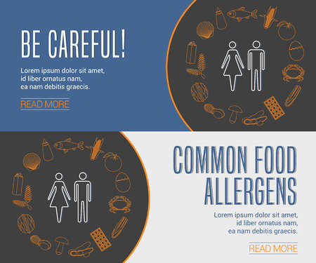 allergens: Collection of two templates for food allergens related internet banners