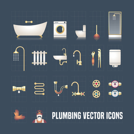 tool: Collection of vector plumbing icons in set. Perfect plumbing objects and tools Illustration