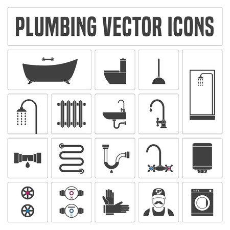 Collection of vector  plumbing symbols and icons. Illustrations of droplet, pipes, faucet, handyman, bathtub