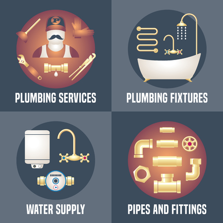 install: House plumbing - collection of four vector banners, posters with plumbing symbols. Handyman services advertising illustrations