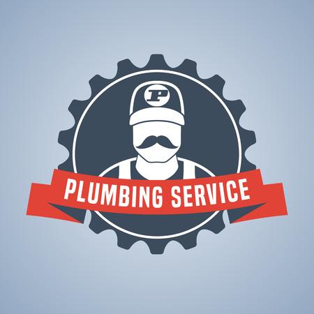 Vector plumbing service logo, sign. Eyecatching design Illustration