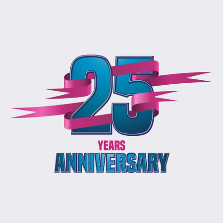 the twenty fifth: Vector design for twenty five years anniversary celebration template Illustration